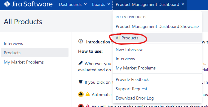 Product Management Dashboard all products