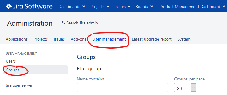 Product Management Dashboard Groups