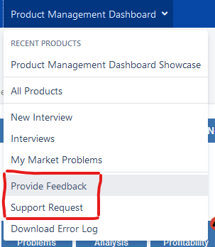 Product Management Dashboard Support and Feedback